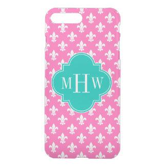 Hot Pink Fleur de Lis Teal 3 Initial Monogram iPhone 7 Plus Case