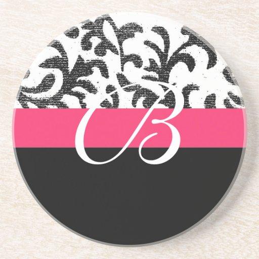 Hot Pink Floral Drink Coaster