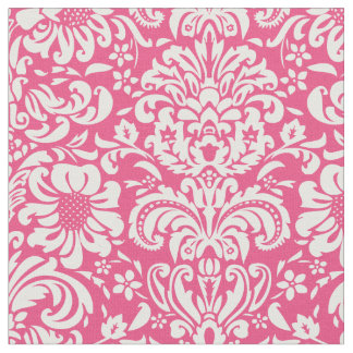 Hot Pink Floral Damask Fabric