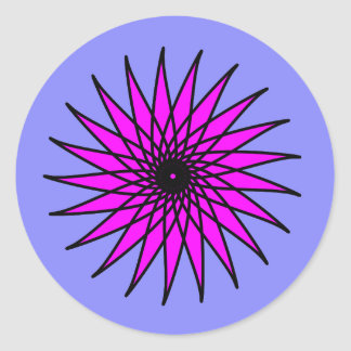 Hot Pink Floral Design Round Sticker
