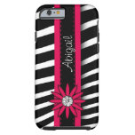 Hot Pink Floral Gem & Zebra Pattern Tough iPhone 6 Case