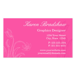 Hot Pink Floral Graphic Designer Business Cards