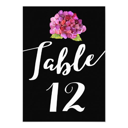 Hot Pink Floral on Black Wedding Table Number Card