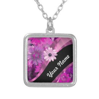 Hot pink floral square pendant necklace