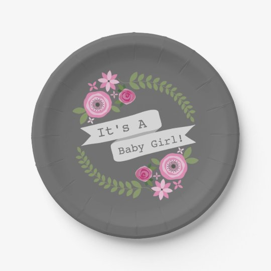 Hot Pink Floral Wreath Baby Shower Paper Plate