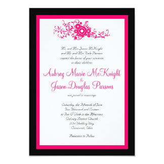 Hot Pink Flourish Black White Wedding Invitations