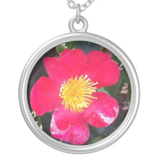 hot pink flower necklace