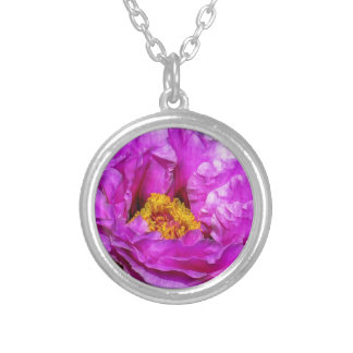 Hot pink flower necklace silver