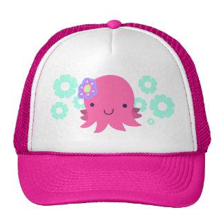 Hot Pink Flower Octopus Mesh Hats