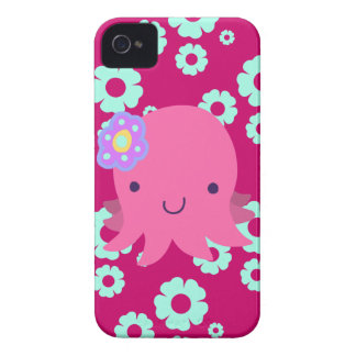 Hot Pink Flower Octopus iPhone 4 Case-Mate Cases