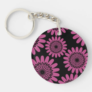 Hot Pink Flowers Acrylic Keychains