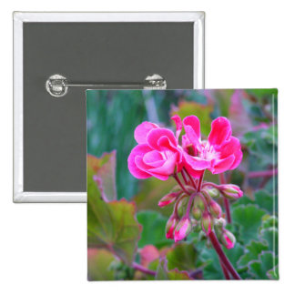 Hot pink flowers beautiful colorful garden photo 15 cm square badge