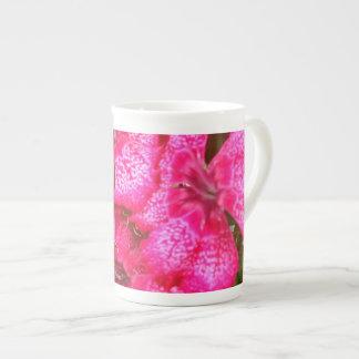 Hot Pink Flowers Bone China Mug