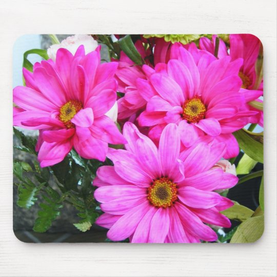 Hot Pink Flowers Mouse Mat