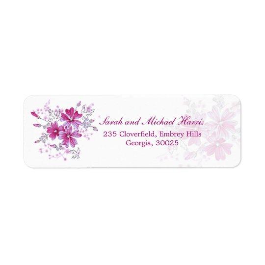 Hot pink flowers return address Avery label Return Address Label