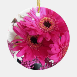 Hot Pink Flowers Round Ceramic Decoration