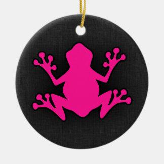 Hot Pink Frog Round Ceramic Decoration