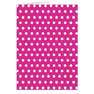 Hot Pink Fuchsia and White Polka Dots Pattern Gift Card