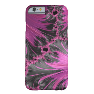 Hot Pink Fuchsia Black Swirl Feather Fractal Art Barely There iPhone 6 Case