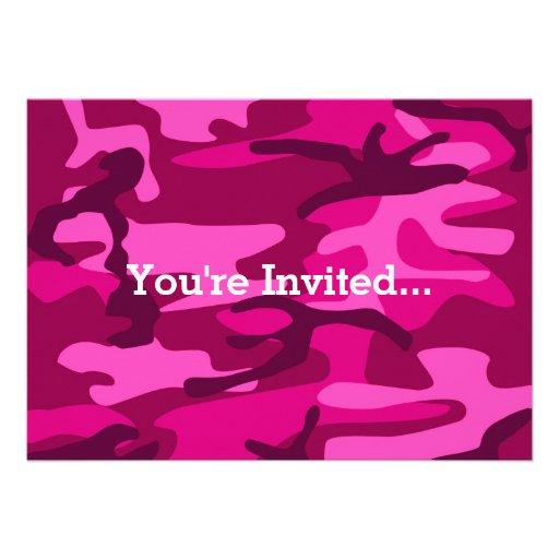 Hot Pink Fuchsia Camo Camouflage Girly Pattern Custom Invite