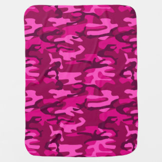 Hot Pink Fuchsia Camo Camouflage Girly Pattern Pram blanket