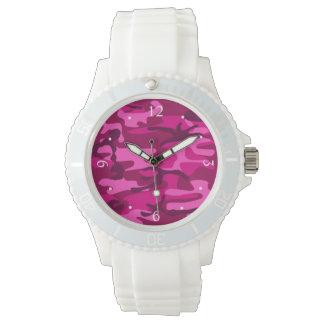 Hot Pink Fuchsia Camo Camouflage Girly Pattern Wrist Watches