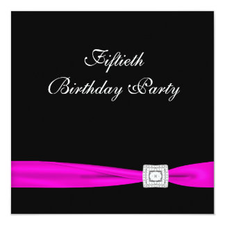 Hot Pink Fuchsia Classy 50th Birthday Party 13 Cm X 13 Cm Square Invitation Card