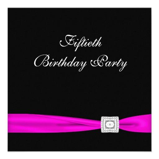 Hot Pink Fuchsia Classy 50th Birthday Party Custom Invites