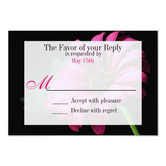 Hot Pink Fuchsia Gerber Daisy Flower Wedding RSVP Card
