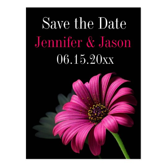 Hot Pink Fuchsia Gerber Daisy Save the Date