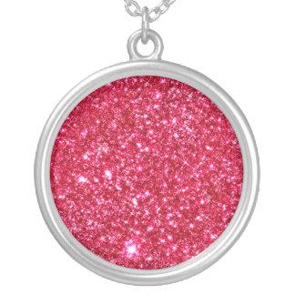 hot pink fuchsia tiny sequin glitter pendants