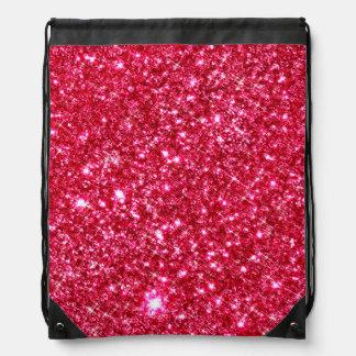 hot pink fuchsia tiny sequin glitter print drawstring bag