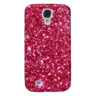 hot pink fuchsia tiny sequin glitter print galaxy s4 case