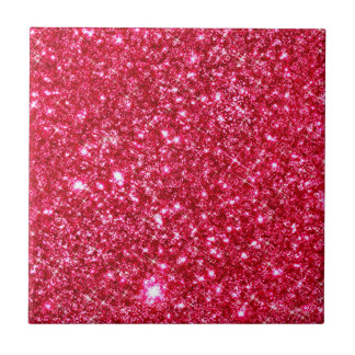 hot pink fuchsia tiny sequin glitter print small square tile