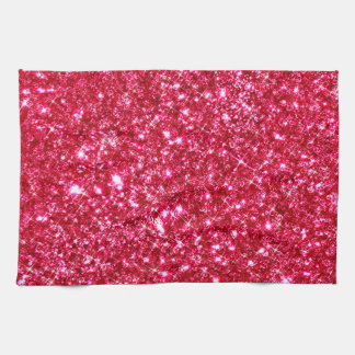 hot pink fuchsia tiny sequin glitter print tea towel