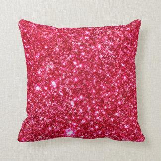 hot pink fuchsia tiny sequin glitter print throw pillow