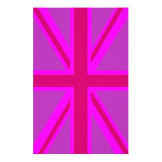 Hot Pink Fuchsia Union Jack Decor Customized Stationery