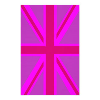 Hot Pink Fuchsia Union Jack Decor Stationery