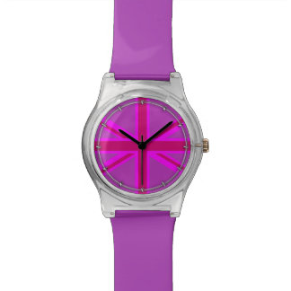 Hot Pink Fuchsia Union Jack Decor Wristwatches