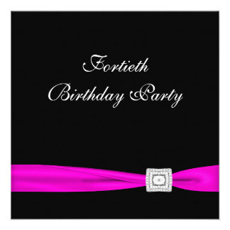 Hot Pink Fuchsia Womans 40th Birthday Party Announcement