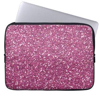 Hot Pink Fushia Glitter Print Laptop Sleeves
