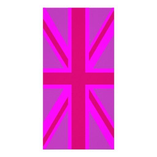 Hot Pink Fushia Union Jack British Flag Background Customized Photo Card