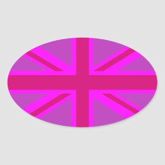 Hot Pink Fushia Union Jack Oval Sticker