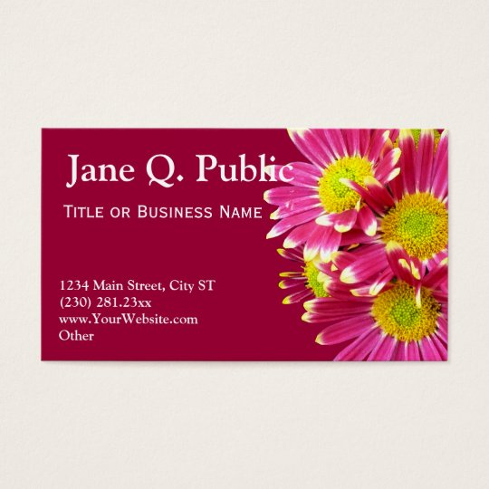 Hot Pink Gerber Daisies Business Card Templates