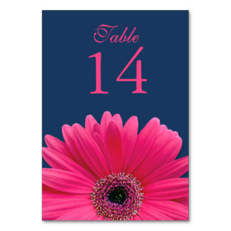 Hot Pink Gerbera Daisy Navy Blue Wedding Table Cards