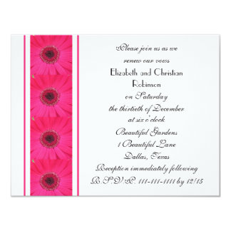 Hot Pink Gerbera Daisy on White Vow Renewal 11 Cm X 14 Cm Invitation Card