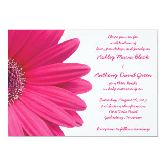 Hot Pink Gerbera Daisy White Wedding Invitation