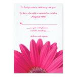Hot Pink Gerbera Daisy White Wedding RSVP Card Custom Announcements