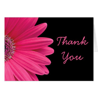 Hot Pink Gerbera (Gerber) Daisy Black Thank You Card