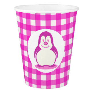 Hot Pink Gingham and Smiling Pink Penguin